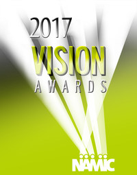 Official logo of the 2017 NAMIC Vision Awards, honoring achievements in television programming diversity.