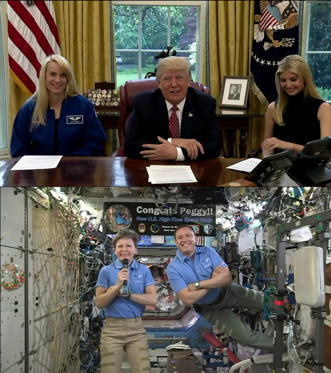 NASA astronaut Peggy Whitson, currently living and working aboard the International Space Station, broke the record Monday, April 24, for cumulative time spent in space by a U.S. astronaut – an occasion that was celebrated with a phone call from President Donald Trump, First Daughter Ivanka Trump, and fellow astronaut Kate Rubins.   NASA astronaut Jack Fischer, who arrived April 20 for his first mission aboard the orbiting outpost, also participated in the call alongside Whitson.