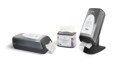 Cascades PRO Tandem Countertop, Tabletop and Stand/Wall Interfold Napkin Dispensers. (CNW Group/Cascades Inc.)
