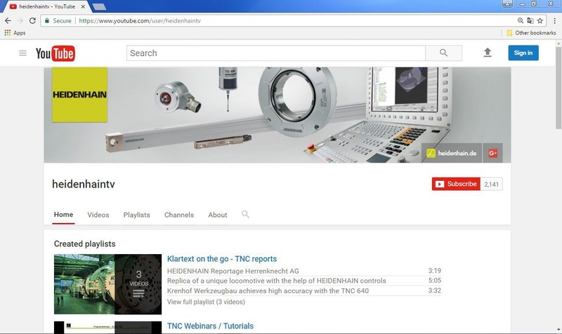 HEIDENHAIN TV Home page on YouTube