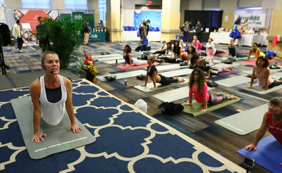 Personal trainer and yoga enthusiast of more than 20 years, Suzie Haines, teaches an exclusive pelvic strengthening yoga class in Depend Silhouette Active Fit Briefs at the Yoga Journal Live event on Sunday, April 23, 2017, in New York City. (Stuart Ramson / AP Images for Kimberly-Clark)