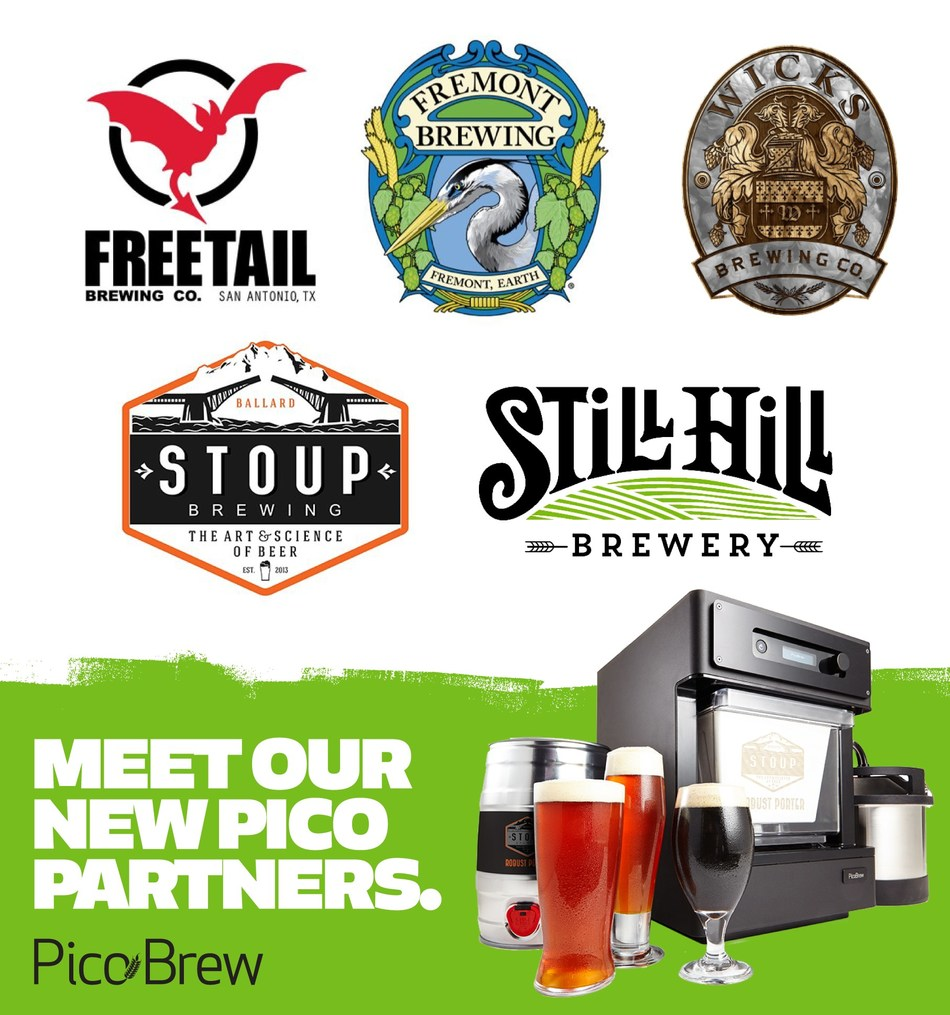 PicoBrew Announces Five New Brewery Partners: Fremont Brewing, Freetail Brewing Co., Wicks Brewing Co, Stoup Brewing and Still Hill Brewery.