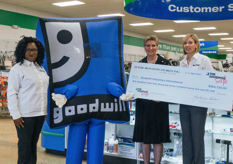 """""""The Bon-Ton Stores, Inc. presents a ceremonial check to Goodwill for $564,725, the most dollars ever collected from customers during a Bon-Ton Goodwill Sale. Lisa Waltman (middle), of The Bon-Ton Stores, Inc., presents the check to Jennifer Ross (right) and Melinda Hawes (left) of the Goodwill Keystone Area, headquartered in Harrisburg, PA. Ross and Hawes accept the check on behalf of the Goodwill network."""" Photo credit: Jeff Lynch"""