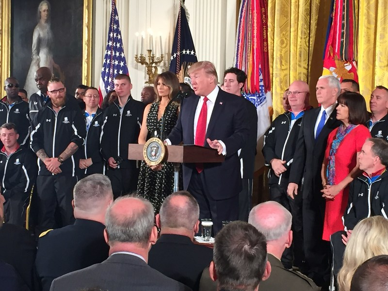President Trump greeted a group of wounded veterans served by Wounded Warrior Project during the recent Soldier Ride in Washington D.C.
