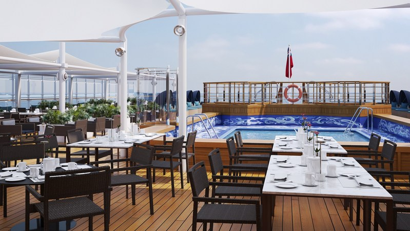 AFT LIDO SUN DECK: This stunning lounge space has been extended to provide guests with additional deck space from sunrise to sunset. Windbreakers and additional sun loungers and luxury cabanas have also been introduced to accommodate sunseekers on board, while the shaded area has been extended for those looking to dine al fresco. Full beverage service is also available throughout the day and into the evening to enjoy alongside live entertainment.