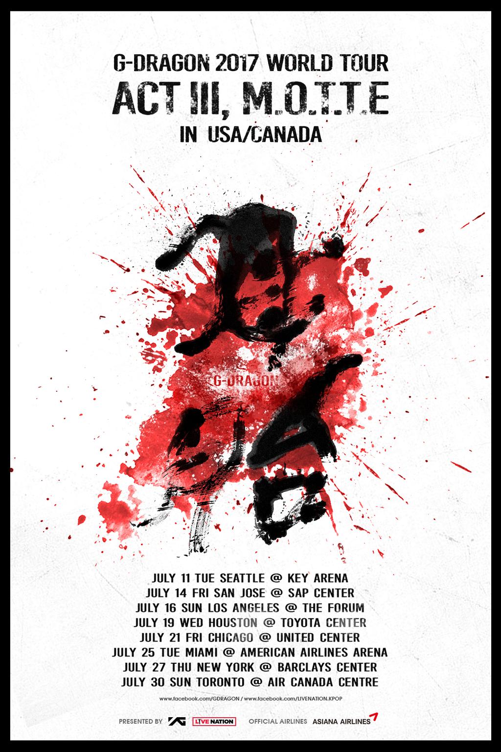 G Dragon Concert Tickets  World Tour Act Iii M O T T E