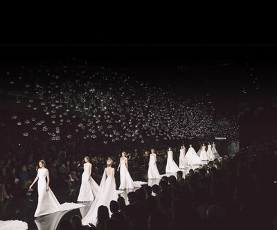 PRONOVIAS FASHION SHOW 2017 – 'LE CIEL' runway finale with the international top models on the catwalk. (PRNewsfoto/Pronovias)