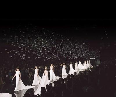 PRONOVIAS FASHION SHOW 2017 – 'LE CIEL' runway finale with the international top models on the catwalk. (PRNewsfoto/Pronovias)