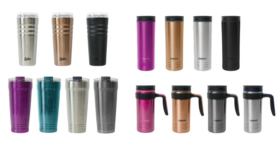 The Igloo Products Corp. Personal Hydration line includes stainless steel products that will keep drinks hot or cold for hours. Top Left - Legacy™ Tumbler, Bottom Left - Logan™ Tumbler, Top Right - Isabel™ Travel Mug, Bottom Right - Isabel™ Travel Mug with Handle.