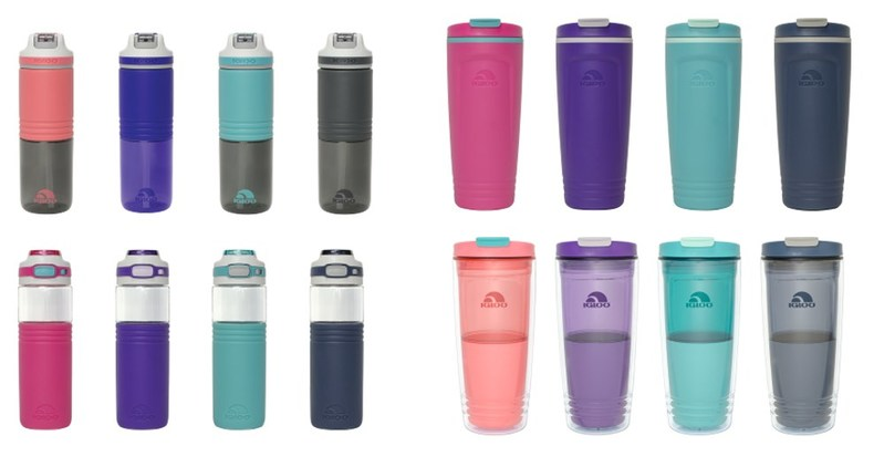 The Igloo Products Corp. Personal Hydration line includes BPA free water bottles that keep you hydrated all day long. Top Left - Swift™ Water Bottle, Bottom Left - Tahoe™ Water Bottle, Top Right - Havasu™ Insulated Tumbler, Bottom Right - Havasu™ Double Wall Tumbler.
