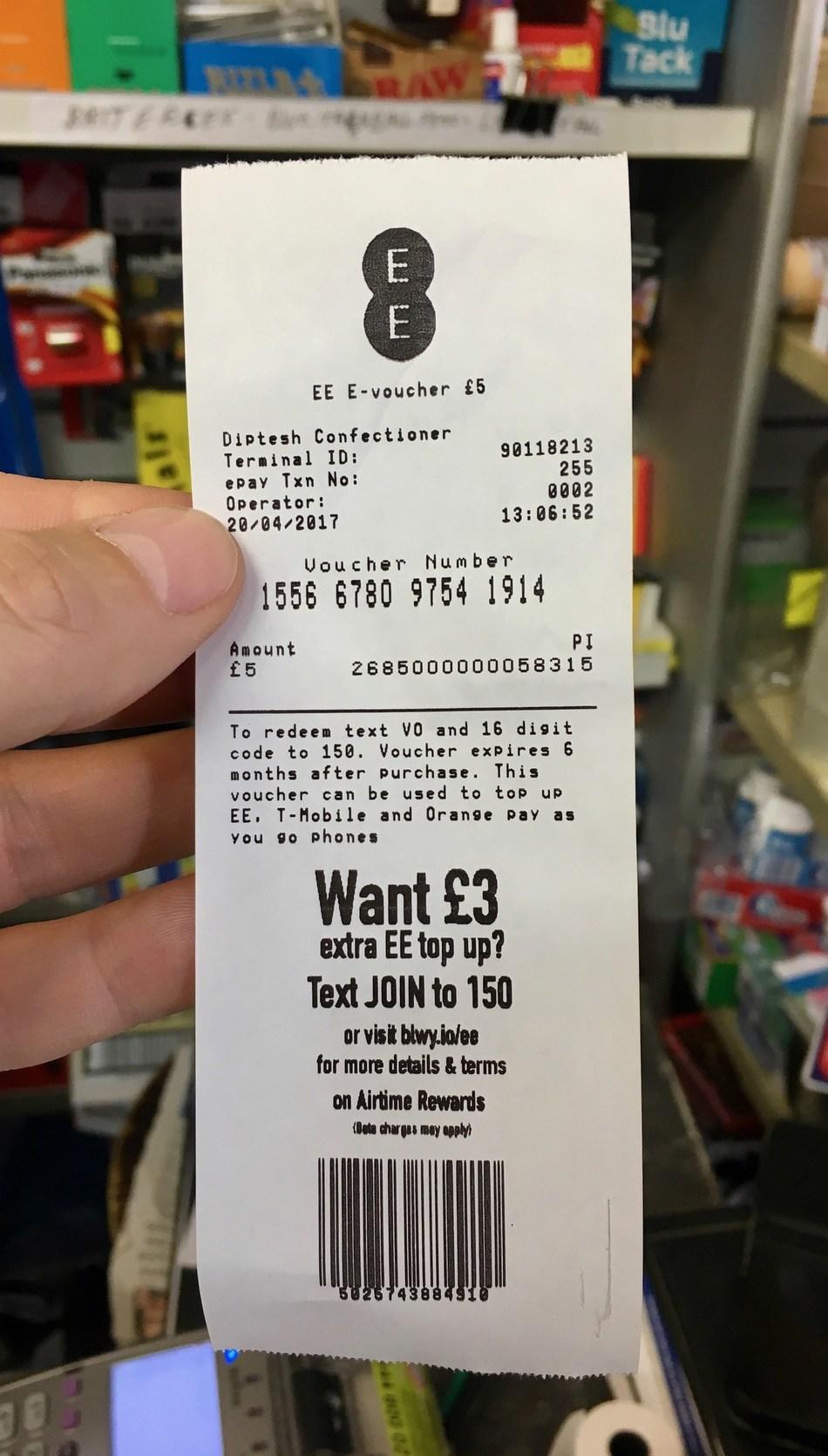 UK - receipt