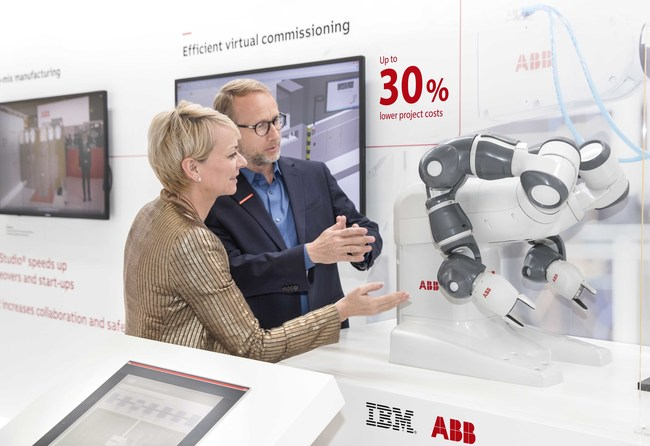 At Hannover Messe, IBM and ABB announced a new partnership in industrial artificial intelligence that will combine the power of IBM Watson with ABB Ability, the comprehensive digital offering of ABB, to unlock new value for clients in utilities, industry, transport and infrastructure. Pictured, Harriet Green, General Manager Watson IoT, Customer Engagement and Education, IBM; and Guido Jouret, Chief Digital Officer, ABB, discuss the future of cognitive and industrial machines.