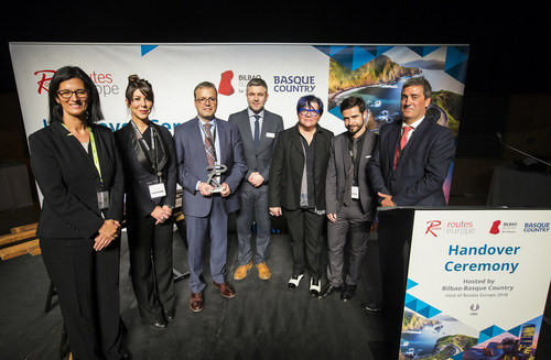 Steven Small, brand director of Routes (centre) with members of the Basque Government and Basquetour at the Routes Europe handover ceremony in Belfast. (PRNewsfoto/Routes)