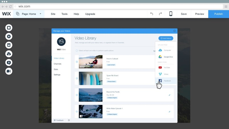 Wix Video lets users add, manage and edit videos in one place.