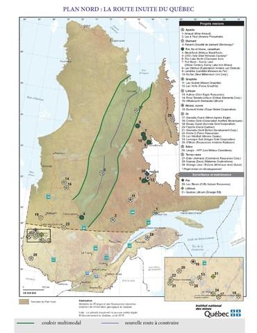 Plan Nord: La Route inuite du Québec (Groupe CNW/Institut national des mines)