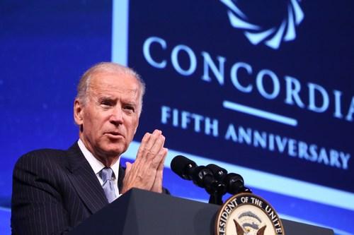U.S. Vice President, Joe Biden, addresses participants at the 2015 Concordia Annual Summit in New York (PRNewsfoto/Concordia)