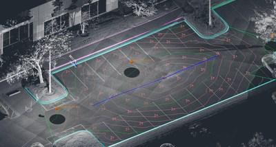 Dessinez les caractéristiques topographiques d'un parc de stationnement grâce aux outils intuitifs SmartSnap de PointSense pour AutoCAD. (PRNewsfoto/FARO)