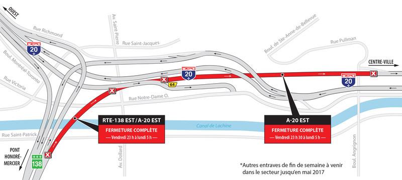 Projet Turcot à Montréal - Entraves majeures dans le secteur des échangeurs Saint-Pierre, Angrignon et Turcot pendant la fin de semaine du 28 avril (Groupe CNW/Ministère des Transports, de la Mobilité durable et de l'Électrification des transports)