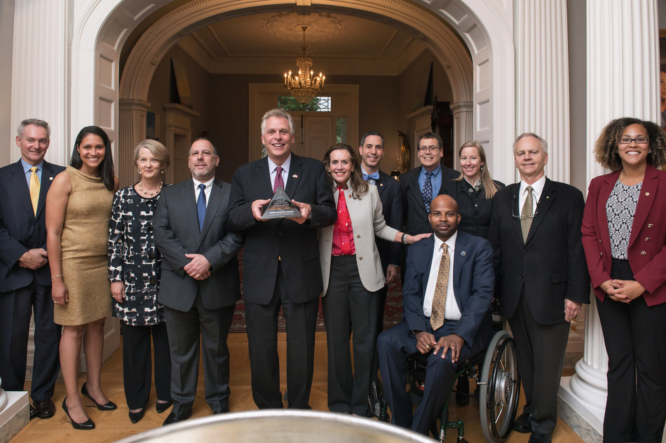 Paralyzed Veterans of America presents Virginia Governor's Mansion with accessibility design award. Picture Courtesy of Virginia Governor Terry McAuliffe and First Lady McAuliffe, pictured here with Paralyzed Veterans Executive Director Sherman Gillums, staff and project partners.