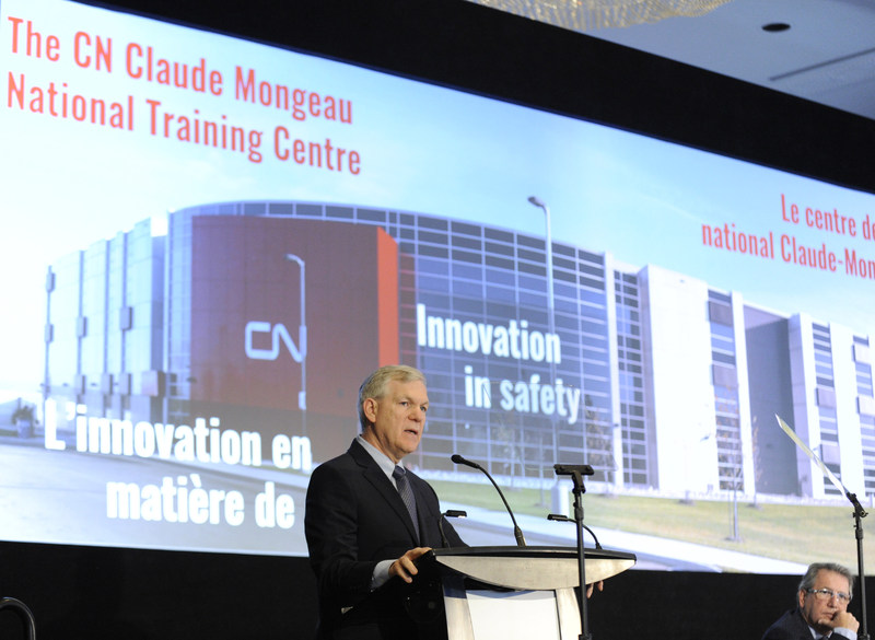 CN president and chief executive officer Luc Jobin announced Monday that the company will name its employee national training centre in Winnipeg after former president and chief executive officer Claude Mongeau. (CNW Group/CN)