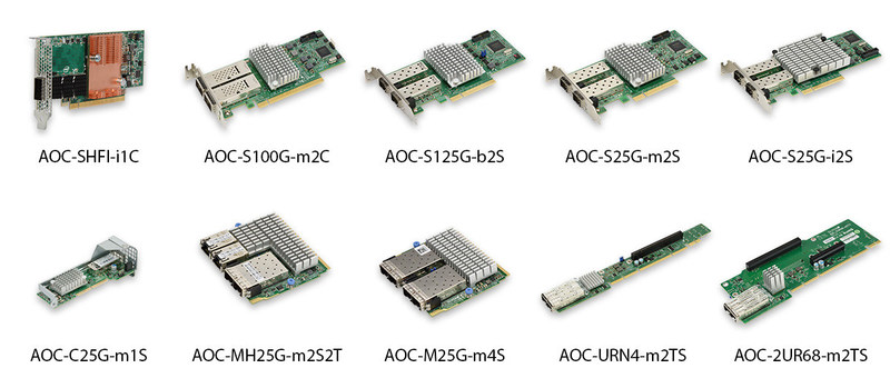 Supermicro offers a wide range of 25GbE and 100GbE interface cards