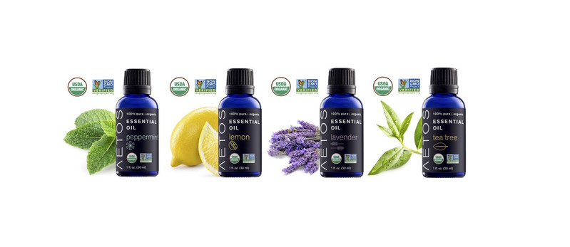 The four products, USDA Organic and Non-GMO Project Verified, include Organic Lavender Essential Oil, Organic Tea Tree Essential Oil, Organic Peppermint Essential Oil and Organic Lemon Essential Oil