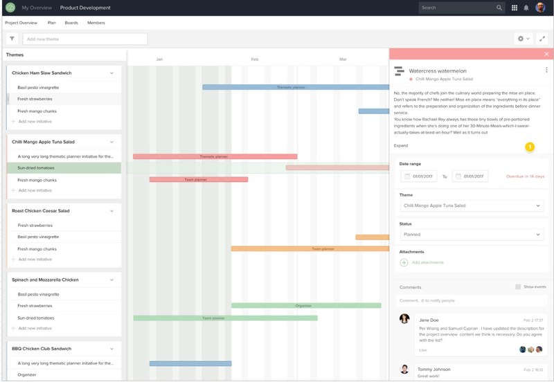 Roadmap workspaces in Projectplace enable teams to organize work by themes across a planning horizon.