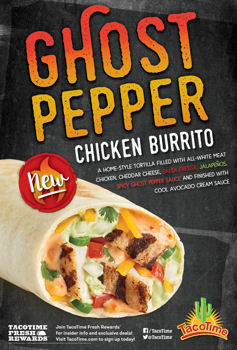 The Ghost Pepper Chicken Burrito is available for a limited time only at TacoTime.