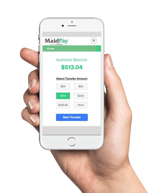 The Maids employees use DailyPay's mobile app to instantly transfer earned wages directly to their bank accounts at any time.