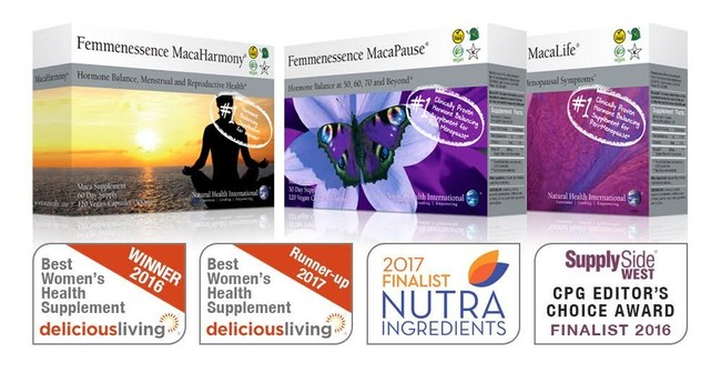 AWARDS (from left to right): 2016 Best Women's Health Supplement MacaHarmony, 2017 Runner-Up Best Women's Health Supplement MacaPause, 2017 Finalist for Readers' Ingredient of the Year Maca-GO, 2016 Finalist CPG Editor's Choice Award MacaPause
