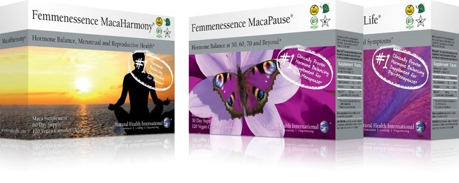 PRODUCT LINE (from left to right): Femmenessence MacaHarmony?, Femmenessence MacaPause?, Femmenessence MacaLife?