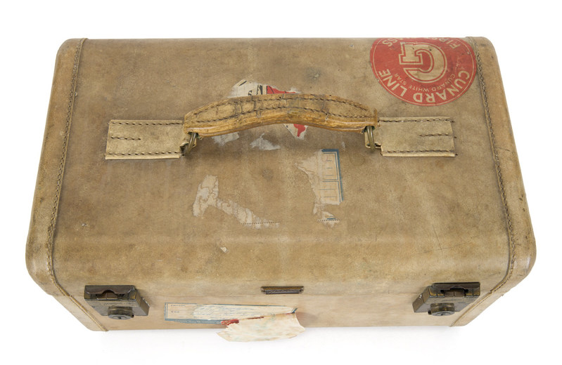 Piece of luggage from Judy Garland Collection with original Cunard Line label.