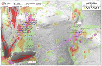 Figure 1: Eastern Supremo area, highlighting exploration drilling at Supremo T8-9 and Arabica during Q1 2017 (blue collars). (CNW Group/Goldcorp Inc.)
