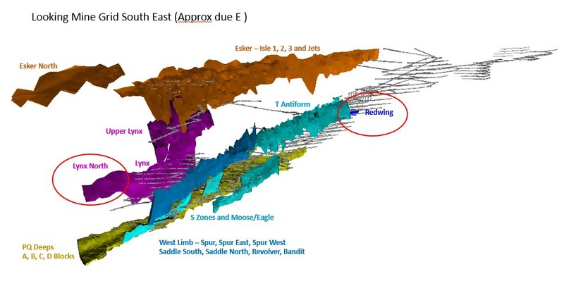 Figure 4. 3D representation of Musselwhite ore zones highlighting location of Redwing and Lynx North zones. (CNW Group/Goldcorp Inc.)