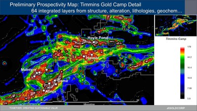 Figure 5. Image displaying the integration of 64 data sets in the preliminary prospectivity analysis of the Timmins Gold Camp (CNW Group/Goldcorp Inc.)