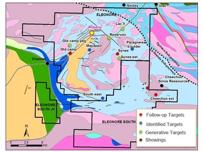 Figure 6 Éléonore Area projects and target location map. (CNW Group/Goldcorp Inc.)