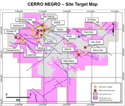 Figure 9. Map showing Cerro Negro deposits and exploration targets (CNW Group/Goldcorp Inc.)