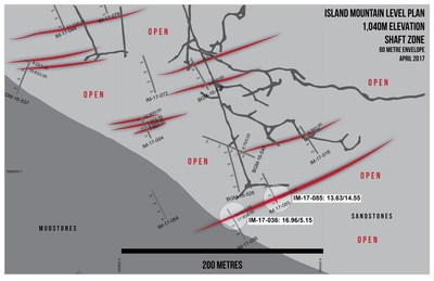Island Mountain Level Plan - 1,040m Elevation Shaft Zone (CNW Group/Barkerville Gold Mines Ltd.)