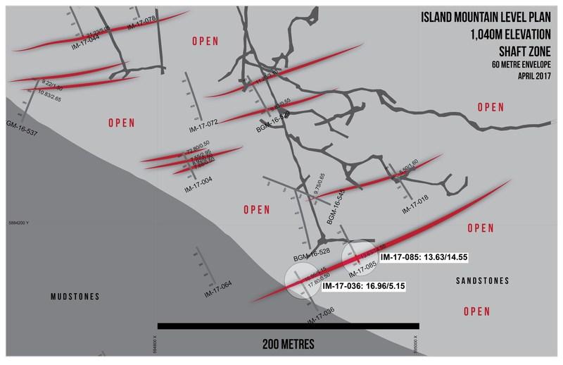 Island Mountain Level Plan - 1,040m Elevation Shaft Zone (CNW Group/Barkerville Gold Mines Ltd.)