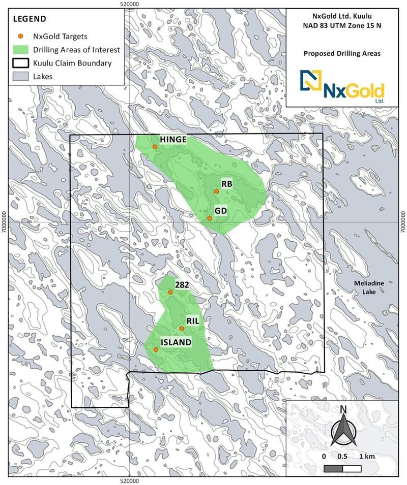 Figure 1: Kuulu Drill Area Location Map (CNW Group/NxGold Ltd.)