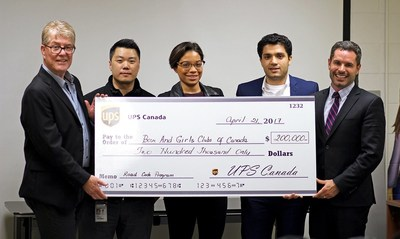 On Friday, April 21, UPS Canada presented a cheque of $200,000 CAD on behalf of The UPS Foundation to the Boys and Girls Clubs of Canada (BGCC) at the East Scarborough Club.  Since 2010, UPS Canada has partnered with BGCC to fund the UPS Road Code® program, a global sponsored safe driving program taught by UPS volunteers and based on the company's safe driving methods. This year's grant brings UPS Canada's total contributions to over $1 million and helped more than 1,300 youth graduate from the UPS Road Code program across the country.  In this photo from left to right Dan Shea, vice-president of human resources for UPS Canada, Sean Harsana, comprehensive health & safety process supervisor for UPS Canada, Lauren Daniel, learning & development, employee community relations supervisor for UPS Canada, Ali Rahimi, community relations specialist for UPS Canada and Mathieu Chantelois, vice-president of marketing & development for Boys & Girls Clubs of Canada. (CNW Group/UPS Canada Ltd.)