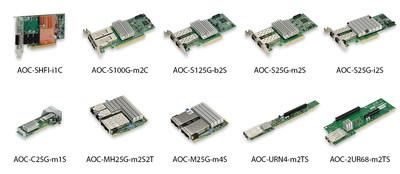 Supermicro oferece uma grande variedade de placas de interface de 25GbE e 100GbE (PRNewsfoto/Super Micro Computer, Inc.)