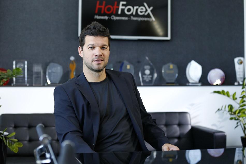 Michael Ballack during his visit at the company's headquarters (Credit: HF Markets Ltd) (PRNewsfoto/HF Markets Limited)