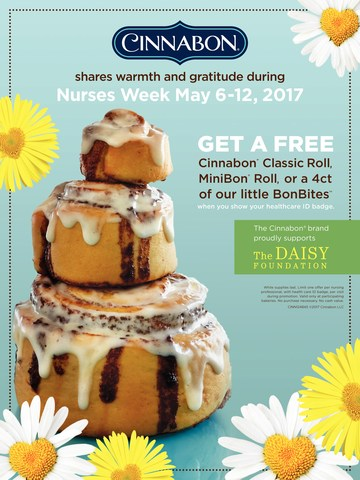 Cinnabon thanks Nurses nationwide by offering FREE Cinnabon treats from May 6-12, 2017