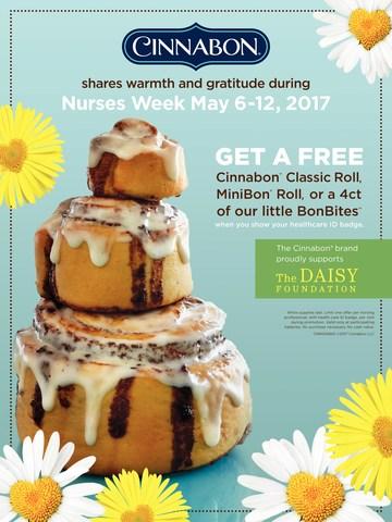 Cinnabon thanks Nurses nationwide by offering FREE Cinnabon treats from May 6-12, 2017