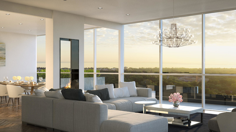 Soaring 10' floor-to-ceiling windows span the width of each suite at The Insignia Private Residences in Oakville. (CNW Group/Opus Signature Collection)