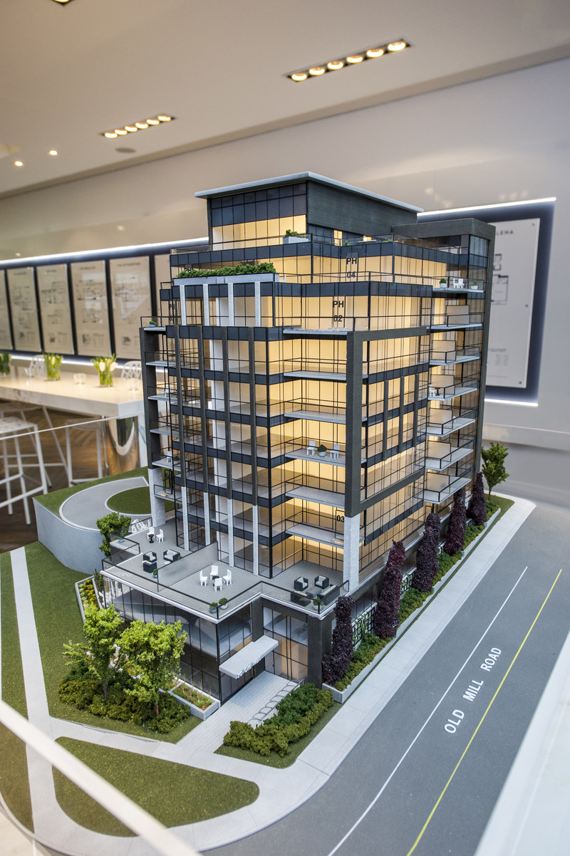 Beautifully crafted architectural model shown at the official sales pavilion for The Insignia Private Residences in Oakville. (CNW Group/Opus Signature Collection)
