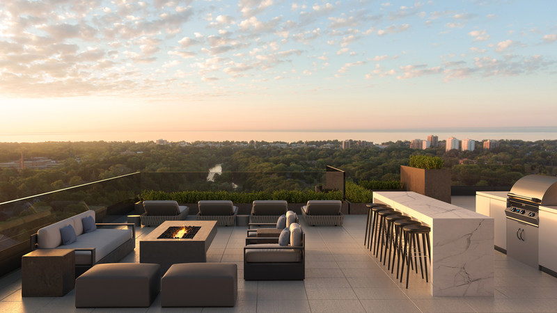 Stunning views of Sixteen Mile Creek and Lake Ontario from the rooftop lounge of The Insignia Private Residences in Oakville. (CNW Group/Opus Signature Collection)