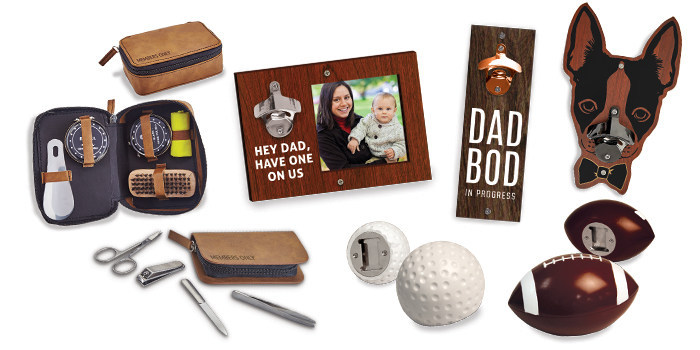 Pictured: Shoeshine Kit, Manicure Kit, Photoframe Bottle Opener, Dad Bod Wall Mounted Opener, Boston Terrier Opener, Golf Ball Opener, Football Opener