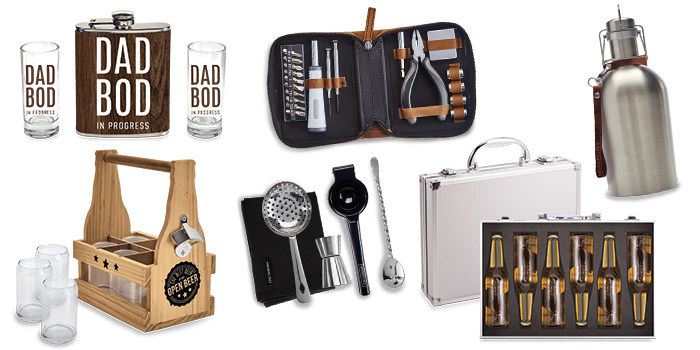 Pictured: Dad Bod Flask & Shot Set, Multitool Kit, Beer Growler, Microbro Beer Carrier, Members Only Bar Set, Beer Briefcase